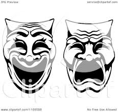 Black And White Drama by Clipart Of Black And White Comedy Drama Theater Masks Royalty