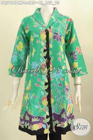 desain baju batik halus baju batik hijau bunga bunga pakaian batik kerah langsung berbahan
