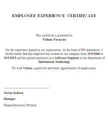 Free Sle Letter Of Employment Certification Experience Certificate