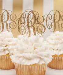monogram cupcake toppers custom monogrammed cupcake toppers in gold glitter personalized