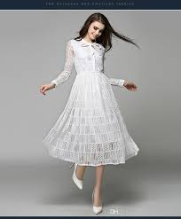 charming white dress 2017 spring pretty lace long sleeves prom