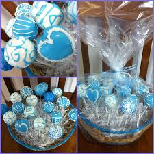 cake pops made for a boy babyshower heart shape and cube cake