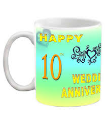 10th wedding anniversary efw happy 10th wedding anniversary printed ceramic coffee mug