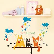 Wall Art For Kids Room by Cat Wall Sticker Animal Small Size Rainy Day Funny Cartoon Wall