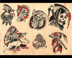 1333 traditional style grim reaper tattoo flash sheet print size 1