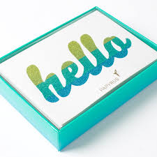 hello glitter striped ultra boxed note cards set of 12