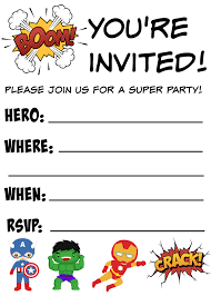 free printable superhero birthday invitations free printable