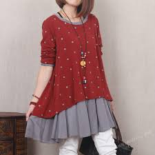 red two layers soft cotton skirt casual long skirt women spring