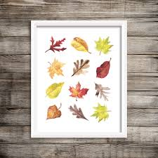 watercolor fall leaves printable wall art autumn print fall