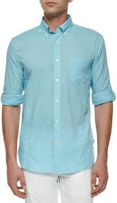 john varvatos star usa solid roll tab woven shirt light aqua