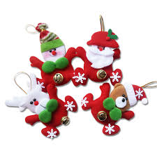 new year gifts santa claus snowman with jingle bell dolls pendants