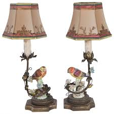 pair of 1900s german porcelain bird lamps for sale at 1stdibs