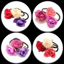 flower bands 3x flower hair bands womens bobbles roses hair elastic