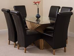 6 Black Dining Chairs Valencia Oak 160cm Glass Dining Set With 6 Black Chairs