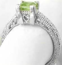 peridot engagement ring vintage peridot rings in 14k white gold with engraving gr 3084