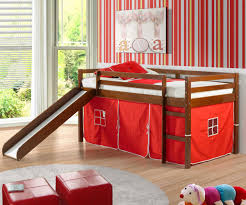 low loft bed with red tent u0026 slide espresso bedroom furniture beds