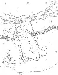 swing snowman coloring pages kids winter coloring pages of