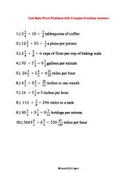 complex fraction word problems worksheets 7th grade unit rate