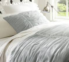 on sale hadley ruched duvet cover u0026 sham gray mist pottery