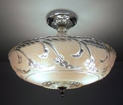 Art Deco Ceiling Light Fixtures Antique 1930s 40s Vintage Art Deco Pink Glass Ceiling Light