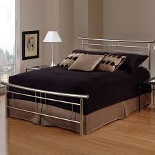 stainless steel bed frame with headboard and black bedding set of