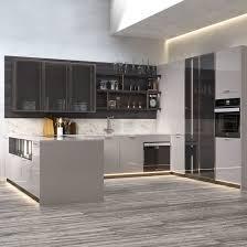 modern kitchen cabinet glass door grey modern design lacquer kitchen cabinet with glass door