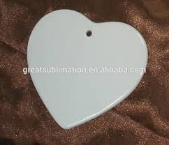 sublimation white blank ceramic ornaments buy white blank