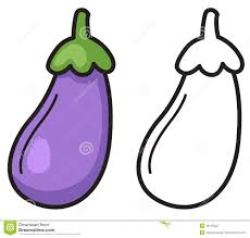 colorful and black and white eggplant for coloring book stock