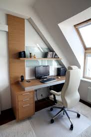 creative loft home office design with floating desk part of
