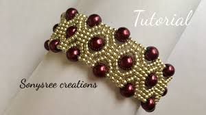 diy pearl bead bracelet images Diy pearl beaded bracelet square stitch tutorial jpg