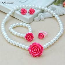 baby bead necklace images Meetcute girls children baby imitation pearl flower necklace jpg