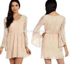 fashion new cream dress solid lace overlay tulip bell sleeve flare