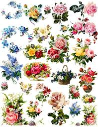 Flower Design For Scrapbook Vintage Flowers Digital Collage Sheet Decoupage Printables