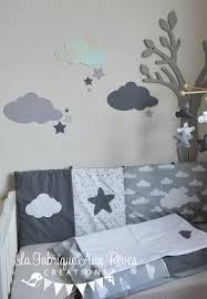chambre bébé nuage stickers nuages étoiles gris foncé argent gris clair décoration