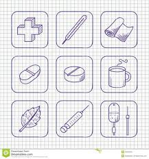 sketches simple medical icons set stock vector image 35830309