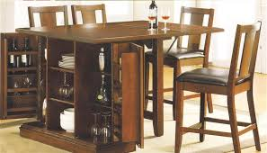 Kitchen Island Table Sets Island Oak Finish Counter Height 5 Table Set By Acme