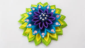 diy craft for kanzashi satin ribbon flower hair accessory