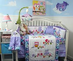 Nursery Bedding Set Soho Lavender Owls Baby Crib Nursery Bedding Set 14 Pcs A