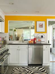 Eat In Kitchen Furniture Contemporary Yellow And White Painted Kitchen Cabinets Design In