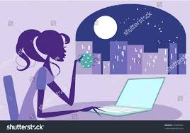 working late on her laptop stock vector 133825781 shutterstock
