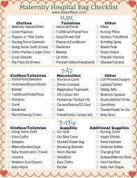 maternity hospital bag list free printable