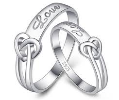 couples rings heart images Matching couples heart knot promise rings set love engraved in jpg