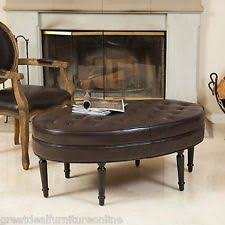 Brown Leather Ottoman Oval Ottoman Ebay