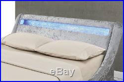 silver crushed velvet fabric led lights ottoman storage bed double