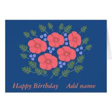 floral birthday add name cards greeting u0026 photo cards zazzle