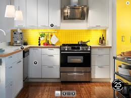 interior cheerful yellow ikea kitchen decoration using cone round