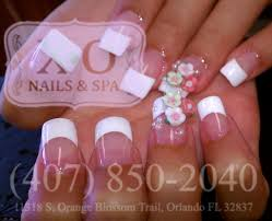 french nails with 3d flowers u0026 pearls nail design wedding nails