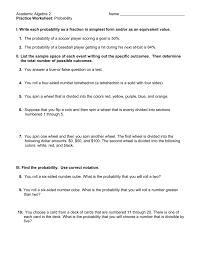 academic algebra 2 name practice worksheet probability i write