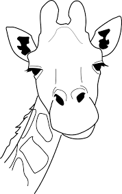 giraffe black and whiote drawing for children printable clip art