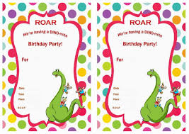 template free printable dinosaur birthday email invitations with
